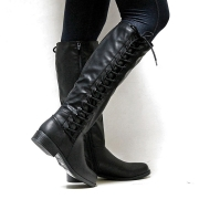 Leatherette Lace-Up Straight Boots