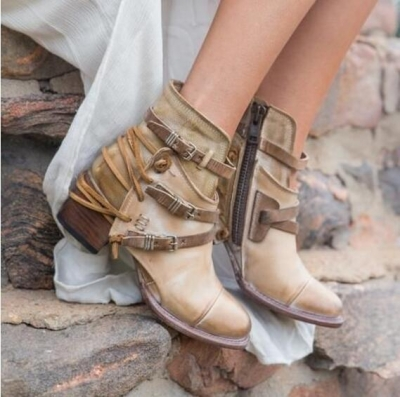 Bandages Vintage Thick Heels Booties