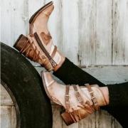 Bandages Vintage Thick Heels Booties