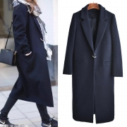 Wool Lapel Button Long Coat