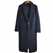 Wool Lapel Button Long Coat