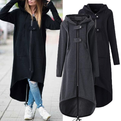 Hooded Sweatshirt Dress Zipper Asymmetrisch Long Coat