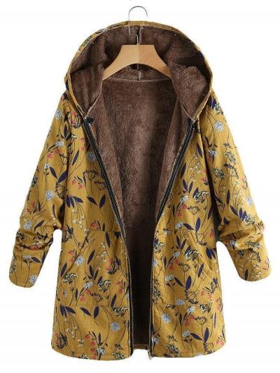 Floral Print Hooded Long Sleeve Pockets Vintage Coat