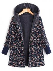 Floral Printed Hooded Long Sleeve Fleece Coat