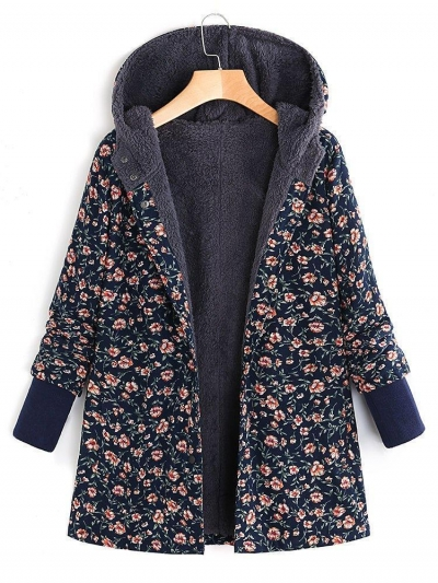 Floral Printed Hooded Long Sleeve Fleece Coat