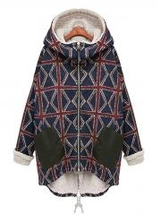 Fur Lining Winter Warm Plaid Coat