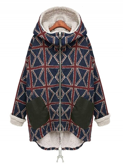 Fur Lining Winter Warm Plaid Coat