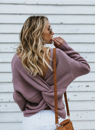 Cross Back V-neck Backless Long Sleeve Oversized Casual Pullover Sweater STYLESIMO.com