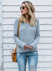 Cross Back V-neck Backless Long Sleeve Oversized Casual Pullover Sweater