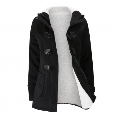 Long Sleeve Solid Buttoned Zipper Pockets Coat