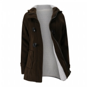 Long Sleeve Solid Buttoned Zipper Pockets Coat