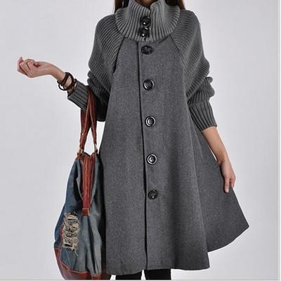 Single Breasted Cowl Neck Woolen Cloak Coat