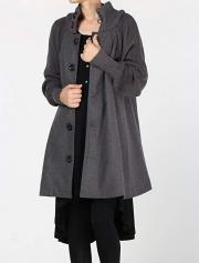 Single Breasted Cowl Neck Woolen Cloak Coat