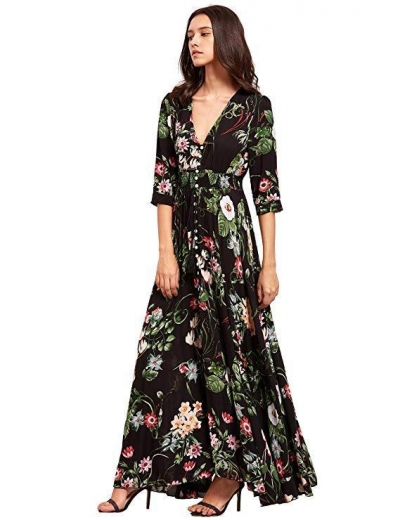Button up Split Floral Print Flowy Party Maxi Dress