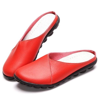 Big Size Pure Color Soft Sole Casual Open Heel Lazy Flat Shoes STYLESIMO.com
