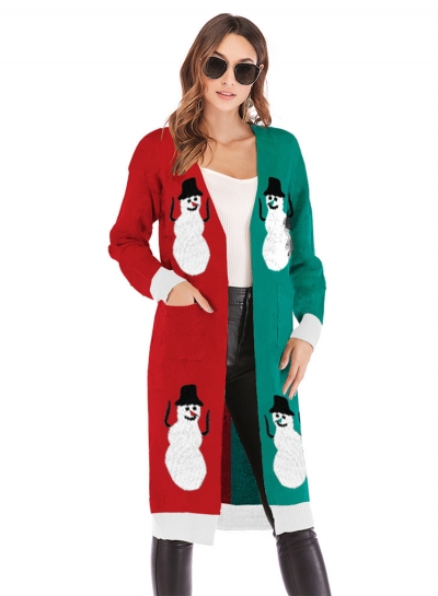 Christmas Snowman Deer Printed Leopard Pocket Cardigan Sweater