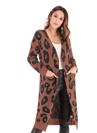 Leopard Printed Pocket Cardigan Sweater
