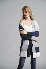 Color Block Long Sleeve Knit Gardigan