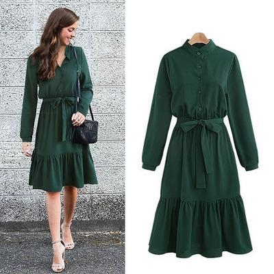 Long Sleeve Tie Waist lace Up Shirt Dress