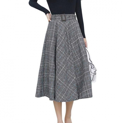 Elastic Waist Belted Cotton Plaid Midi Skirt