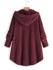 Fleece Hooded Asymmetrical Hem Button Coat