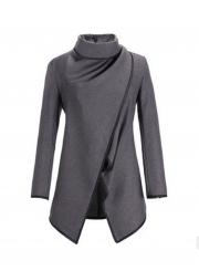 Long Sleeve Shawl Collar Piping Plus Size Coat
