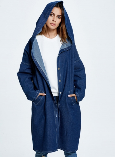 Hooded Long Jean Coat Casual Long Sleeve Denim Jacket Outwear Overcoat