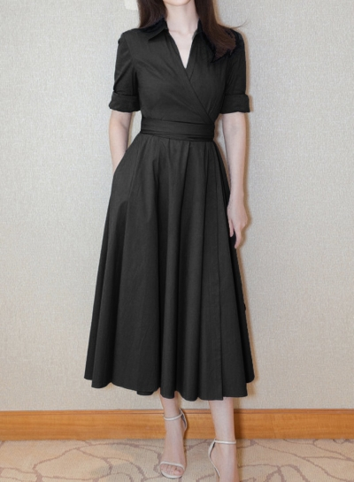 Dress丨V Neck Swing Midi Dress