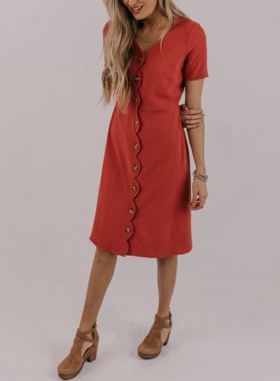 Casual V-neck A-line Short Sleeved Scalloped Dress