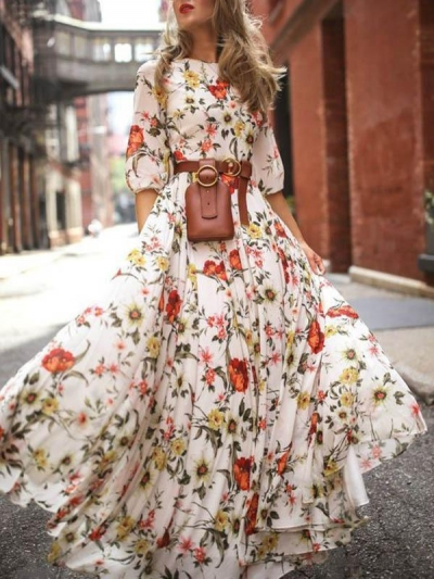 Round Neck Half Sleeves Bohemia Maxi Dress