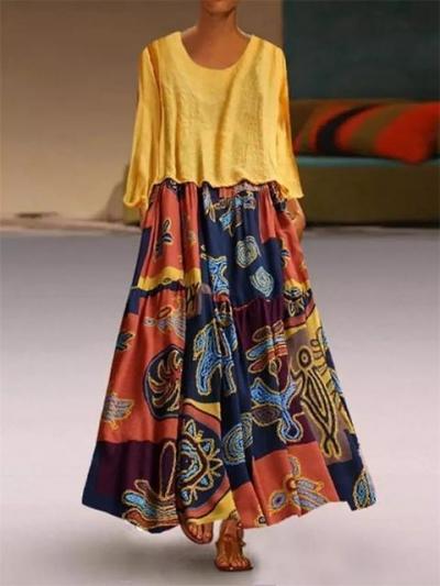 Vintage Print Maxi Two Piece Dress