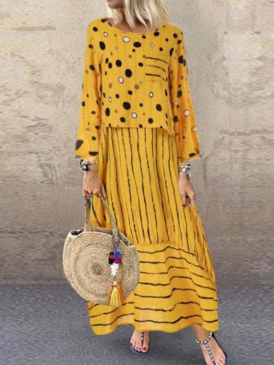 Vintage Print Polka Dots Striped Two-piece Dress