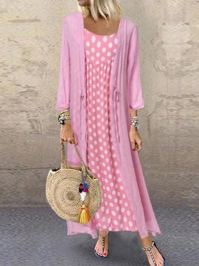 Casual Polka Dot Two-Piece Maxi Dress