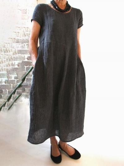Summer Pockets Round Neck Shift Linen Dresses STYLESIMO.com