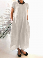 Summer Pockets Round Neck Shift Linen Dresses