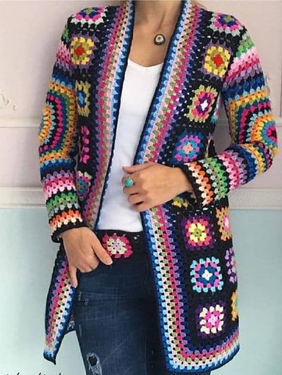 Blue Round Neck Long Sleeve Cotton-Blend Color-Block Outerwear
