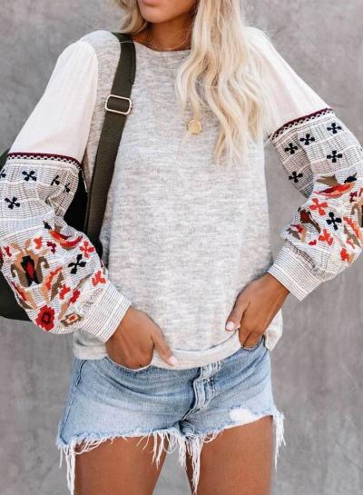 Print Long Sleeve Pullover Sweatshirt