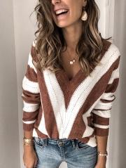 Plus Size Long Sleeve V Neck Geometric Casual Sweater