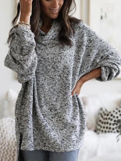 Gray Casual Plain Hoodie Sweater