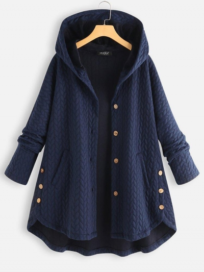 Vintage Solid Long Sleeve Hoodie Sweater Coat