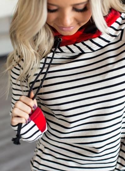 DoubleHood™ Sweatshirt - Tan Stripe & Buffalo