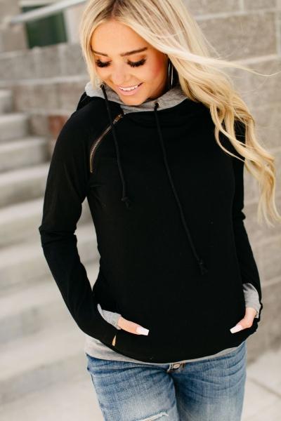 DoubleHood™ Sweatshirt - Basic Black
