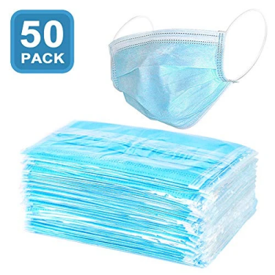 Disposable Sanitary Face Masks with Elastic Earloops - Hypoallergenic Thick 3-Ply Cotton Filter for Pollen, Allergies, Cold, Dust