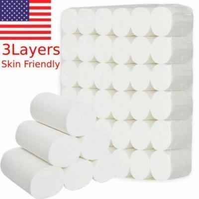 1/12 Rolls Toilet Paper Bulk Rolls Bathroom Tissue 3 Ply Household SHIP FROM USA
