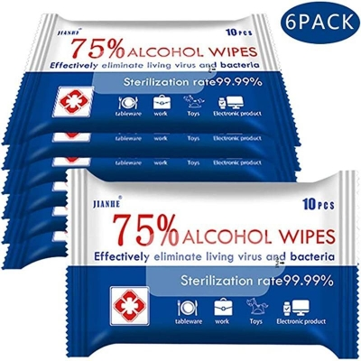 (6 Packs 60 Wipes) 75% Alcohol Cleaning Wet Wipes
