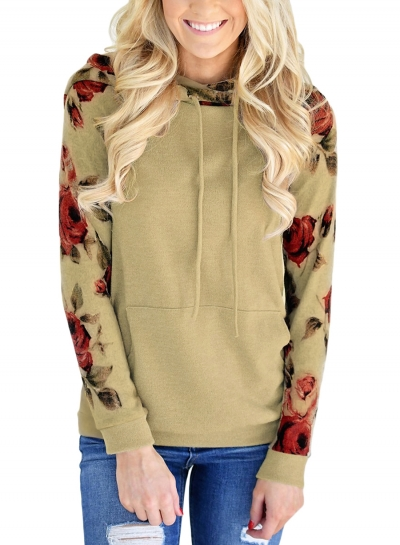 Khaki Casual Floral Print Long Sleeve Loose Hoodie With Pocket