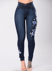 Casual Embroidered High Waist Slim Flit Skinny Jeans