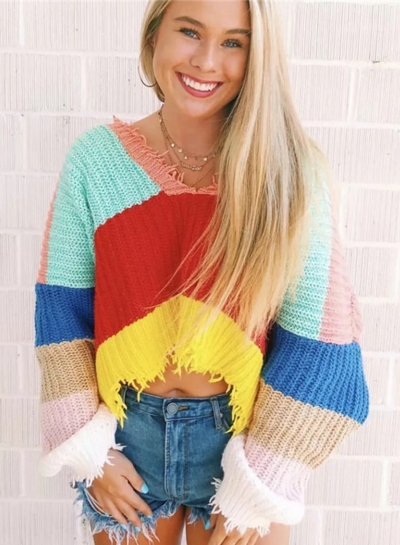Multi Sexy Oversize Striped Color Block V Neck Long Sleeve Crop Top Sweater
