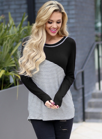 Black Casual Striped Round Neck Long Sleeve Loose Pullover Tee
