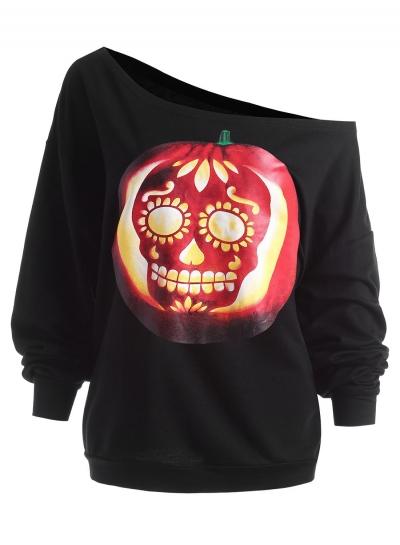 Casual Halloween Pumpkin Skull Print One Shoulder Loose Tee